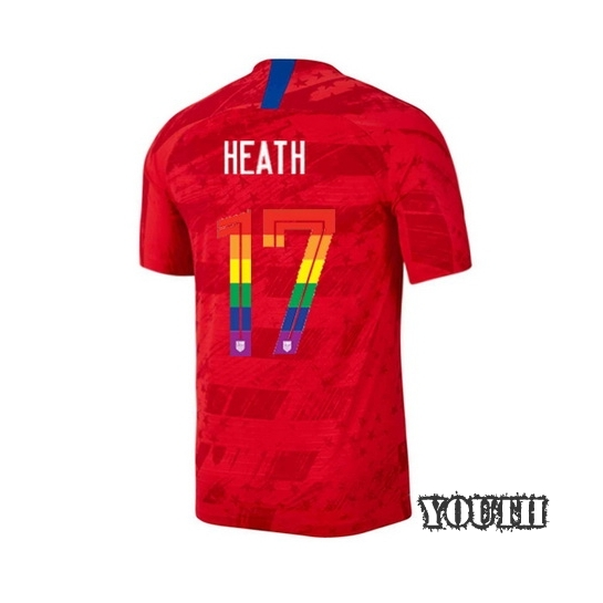 2019/20 USA Red Tobin Heath Youth Soccer Jersey PRIDE